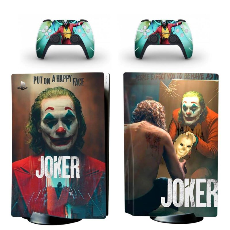 The Joker Movie Mirror & Mask Scene PS5 Disk Decal Cover
