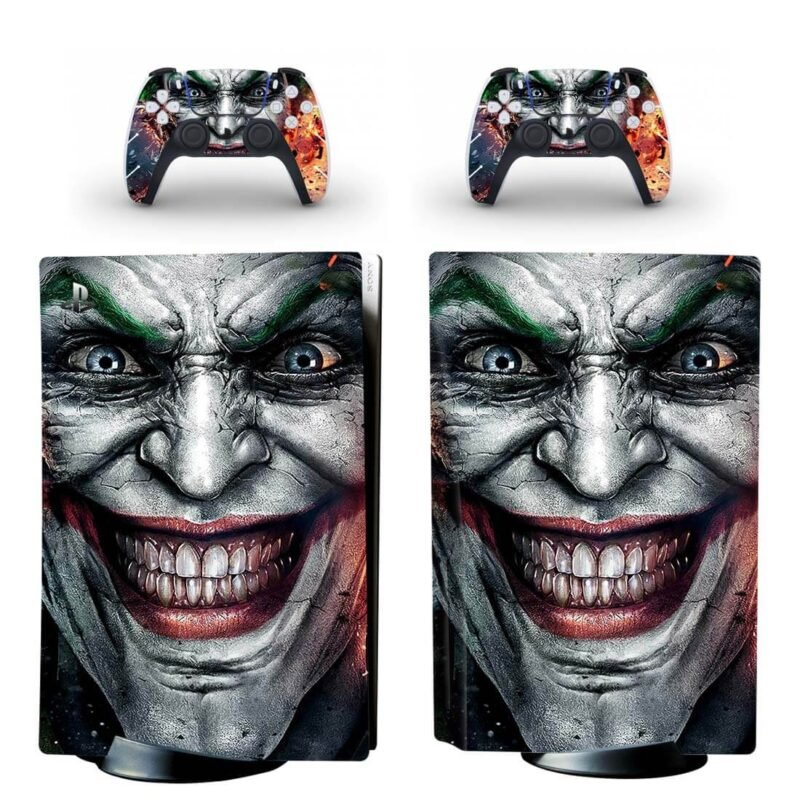 Creepy The Joker Signature Smile Close Up PS5 Disk Skin