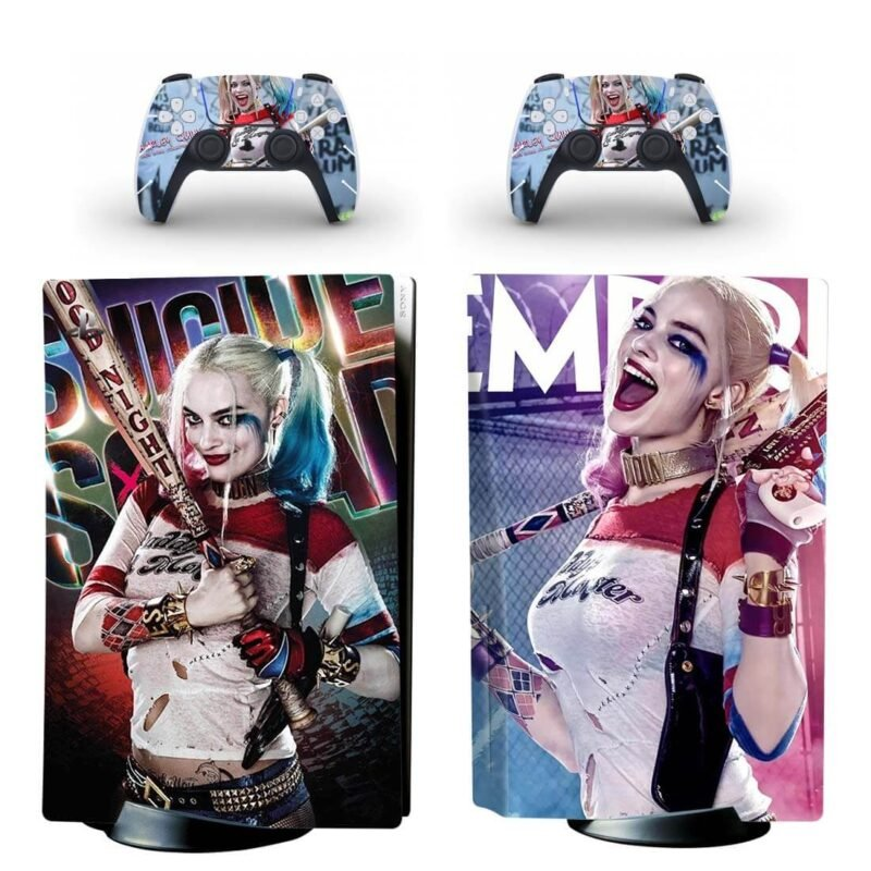Suicide Squad Harley Quinn Crazy Colorful PS5 Disk Skin