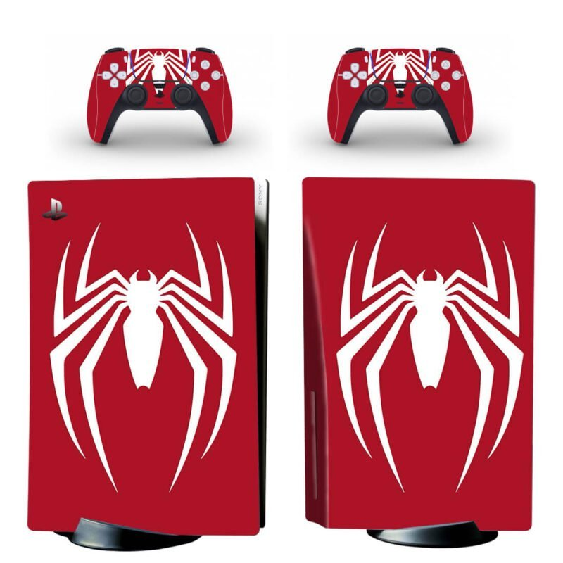 Spiderman Minimalist Red & White Astonishing PS5 Disk Wrap