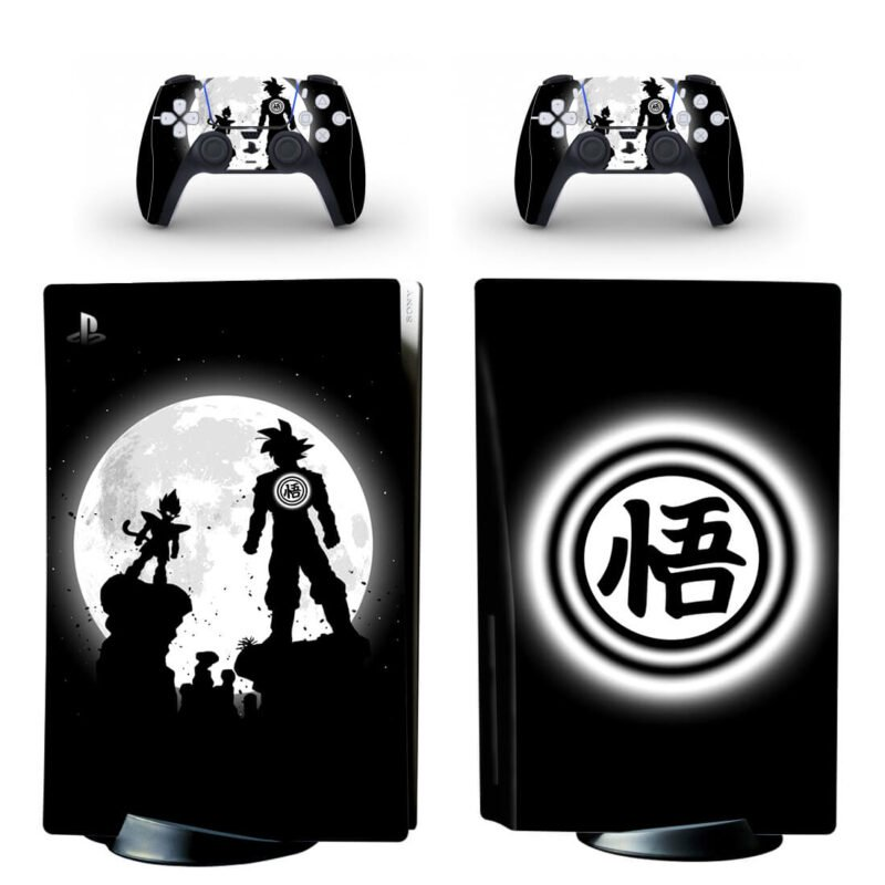 Dragon Ball Z Goku Kanji Wisdom Black & White PS5 Disk Wrap