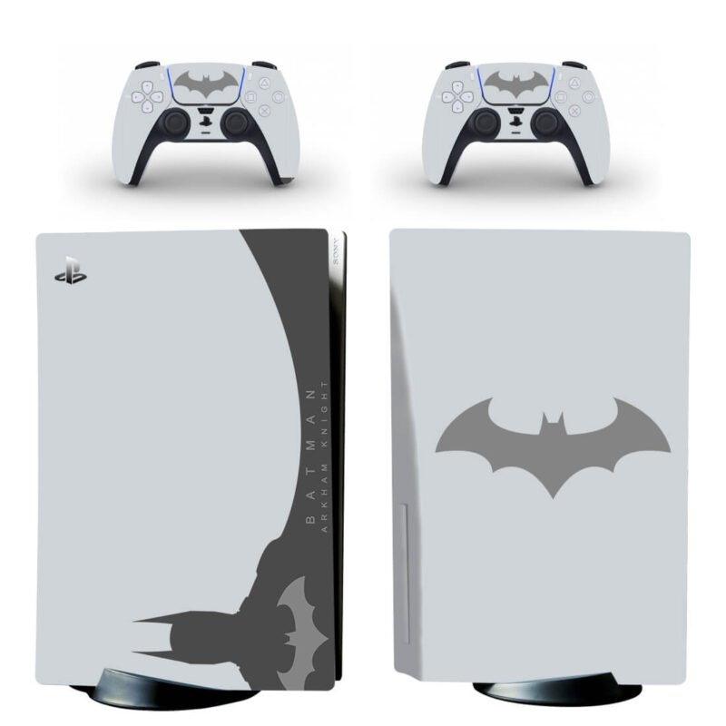 Batman Arkham Knight Minimalist White & Gray PS5 Disk Skin