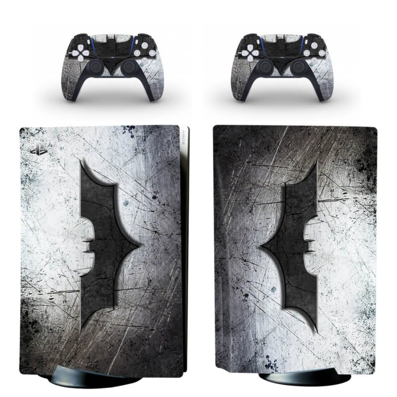 Batman Rugged Grunge Cool Black & Silver PS5 Disk Wrap