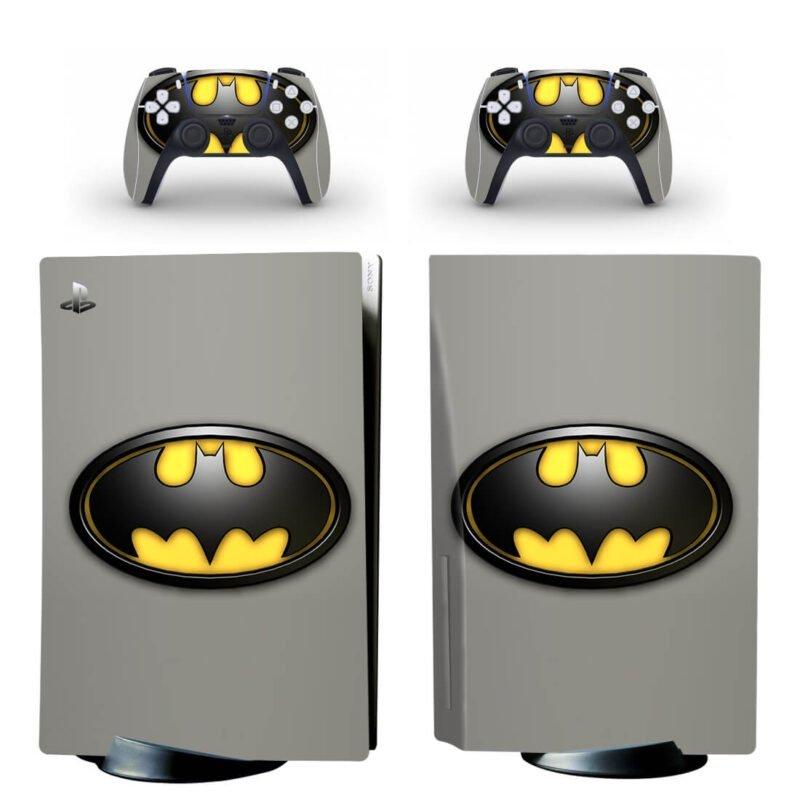 Batman Yellow & Black Classic Logo Gray PS5 Disk Skin