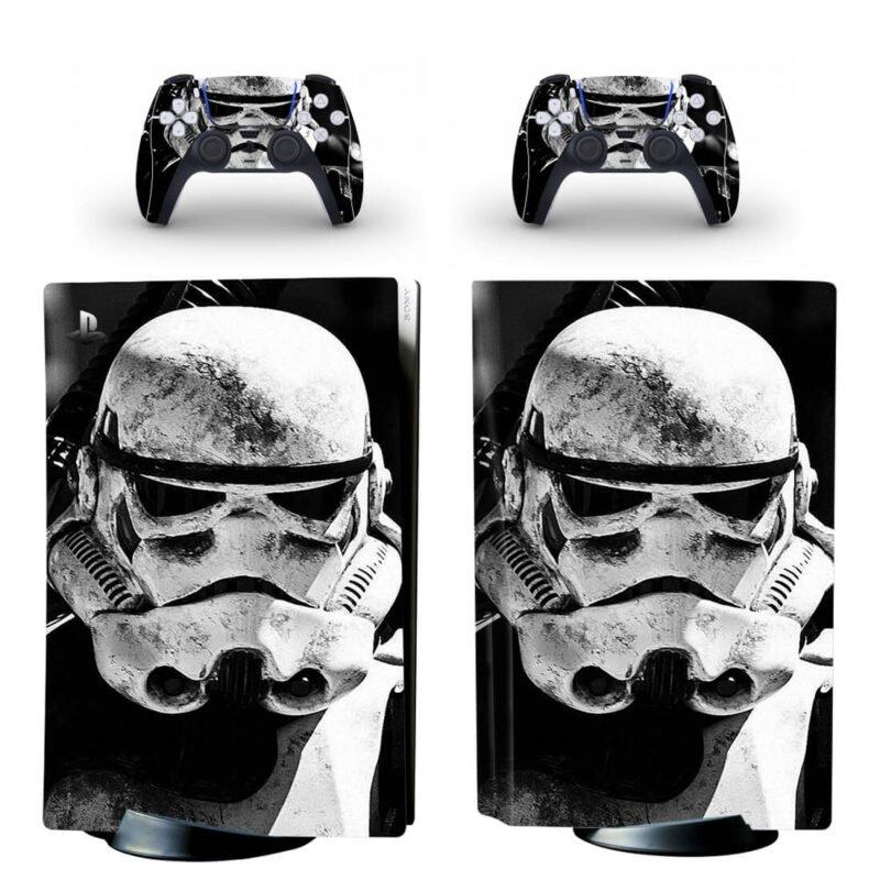 Star Wars Cool Black & White Storm Trooper PS5 Disk Skin