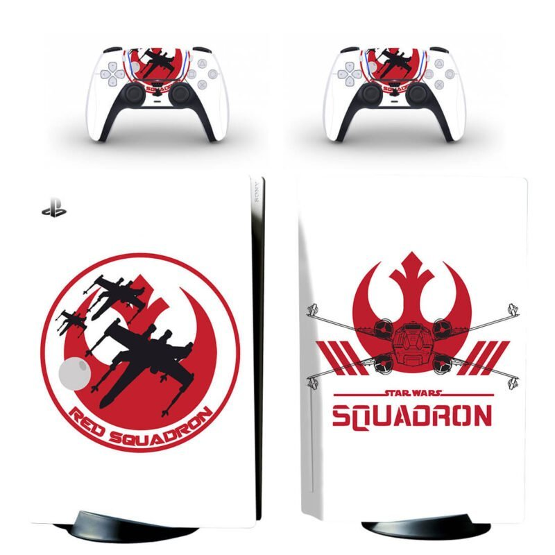 Minimalist White & Red Star Wars Squadron PS5 Disk Decal