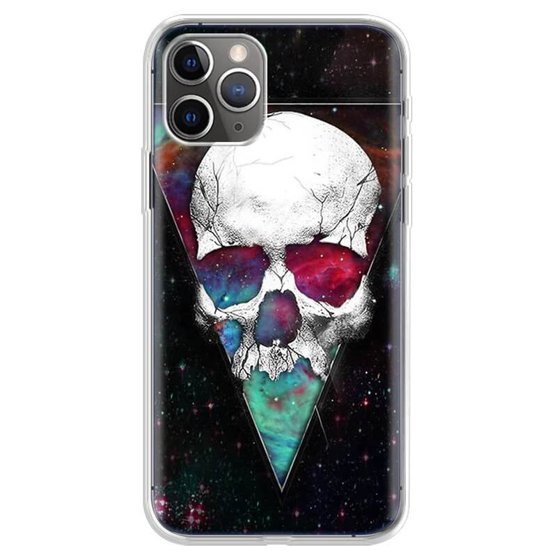 Dope White Cracked Skull Galaxy Awesome iPhone 12 Case