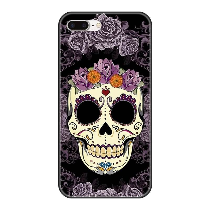 Artistic Skull With Violet Floral Patterns Cool iPhone 12 Case