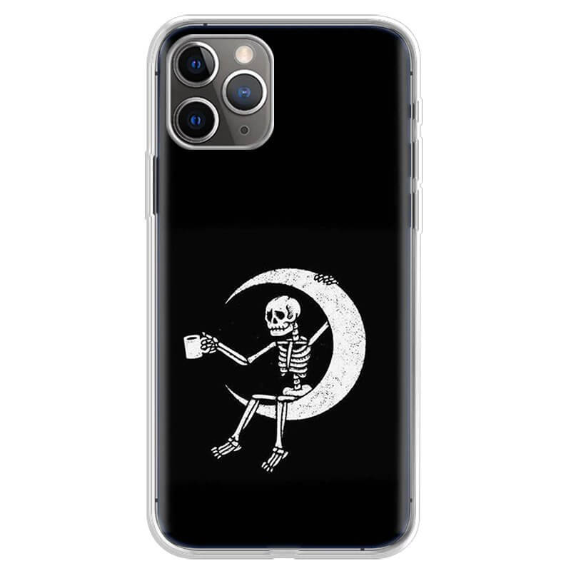 Skeleton Chilling In The Moon Art Cool iPhone 12 Case