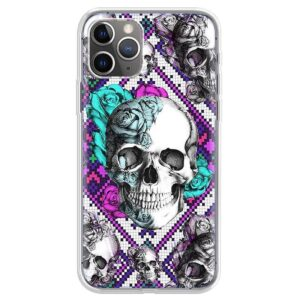 Half Skull Half Roses Blue Purple Cool Pattern iPhone 12 Case