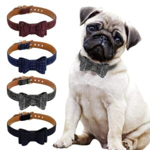 Adjustable Bowknot Pet Dog Cat  Collar Cute Plaid Puppy Kitten Collars Necklace For Small Medium Dogs Cats Chihuahua Pug S M L - Woof Apparel