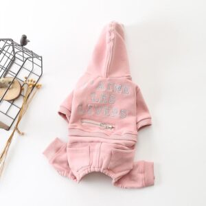 Adorable Light Color Cotton Hooded Overall Puppy Jumpsuit - Woof Apparel