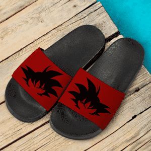 Dragon Ball Z Goku Silhouette Dark Red Awesome Slide Slippers