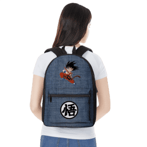 Dragon Ball Z Kid Goku Kanji Symbol Denim Style Backpack