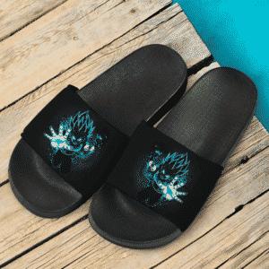 Dragon Ball Z Vegeta Super Saiyan Blue Trippy Silhouette Dope Slide Sandals