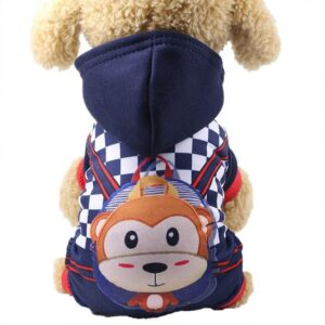 Sporty Monkey Character Hoodie Warm Jumpsuit For Dogs - Woof Apparel