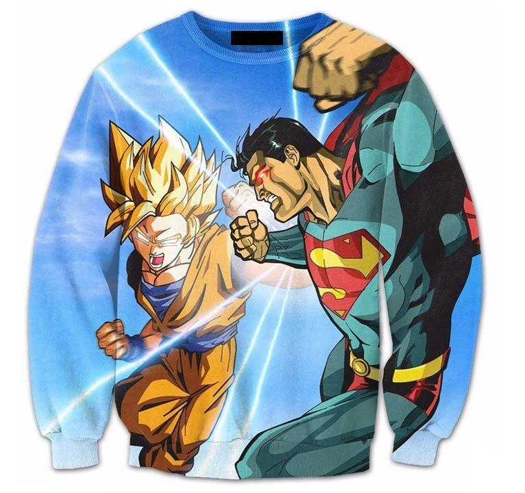 Super Saiyan Goku Versus Superman Battle 3D Sweatshirt